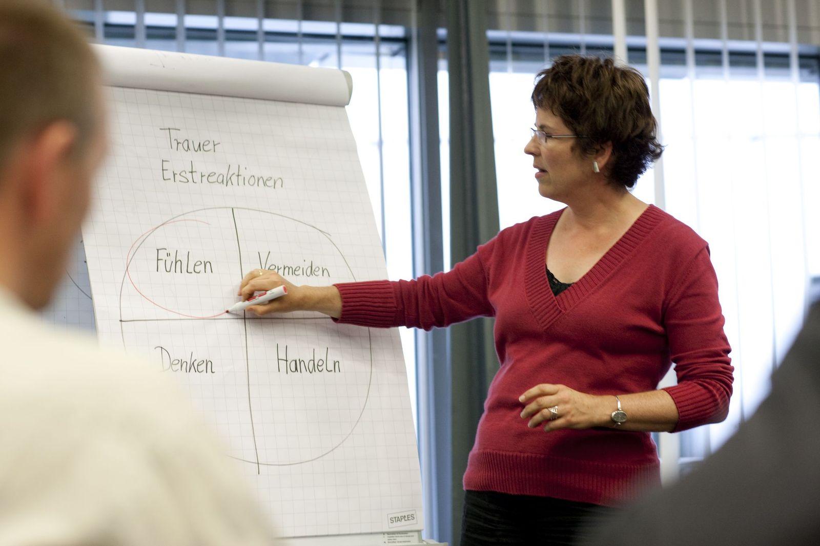 Eine Frau mit dunklen kurzen Haaren steht an einem Flipchart und erklärt die dort aufgeschriebenen Begriffe.