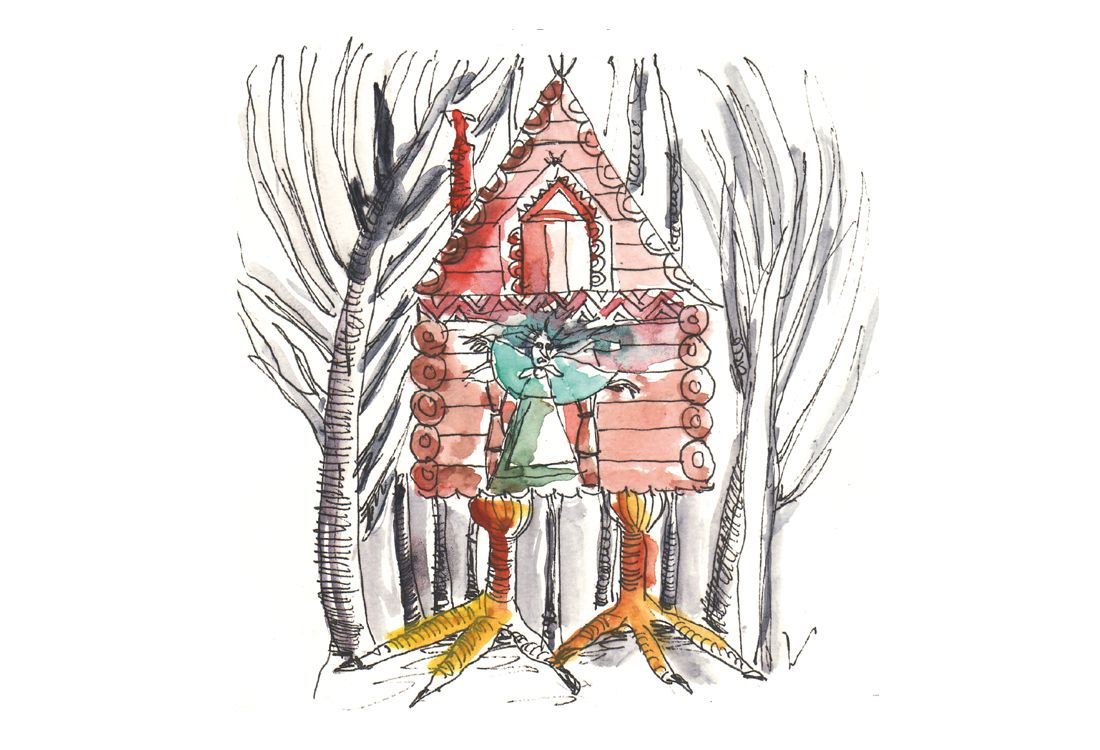 Malerei aus dem Märchenbuch: Ein rotes Holzhaus auf Vogelfüßen steht in einem schwarzen Wald. Vor der Haustüre steht eine Hexe.