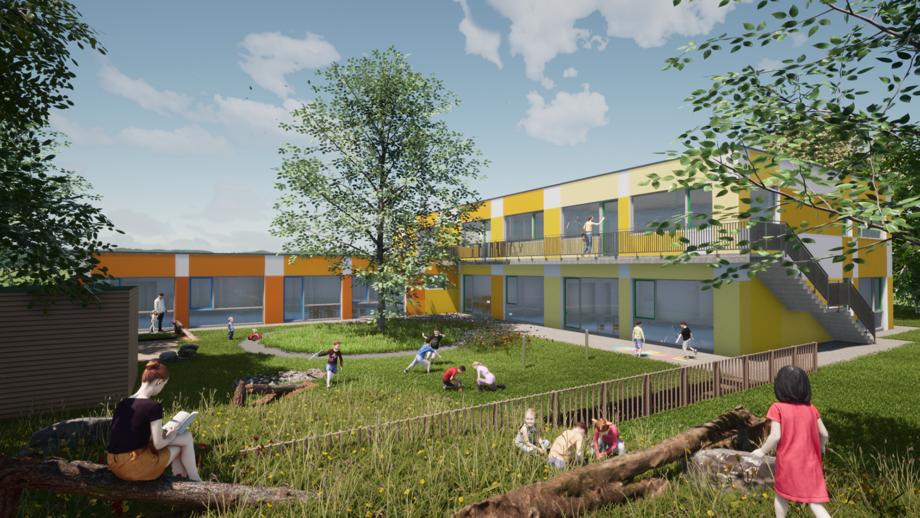 Computeranimation: Ein kantiges Gebäude in orange und gelb. Es hat große Glasfenster, die auf eine grüne Wiese und Bäume blicken.