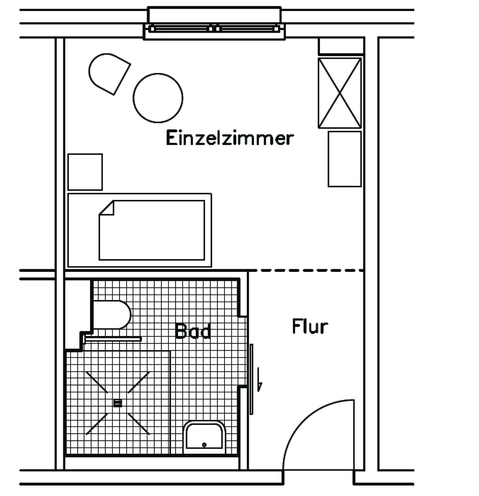Grundriss eines Einzelzimmers im Karl-Heller-Stift