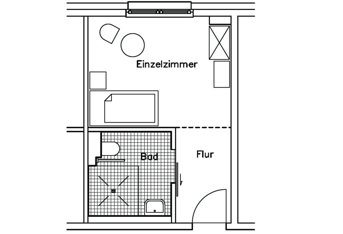Grundriss Einzelzimmer im Karl-Heller-Stift