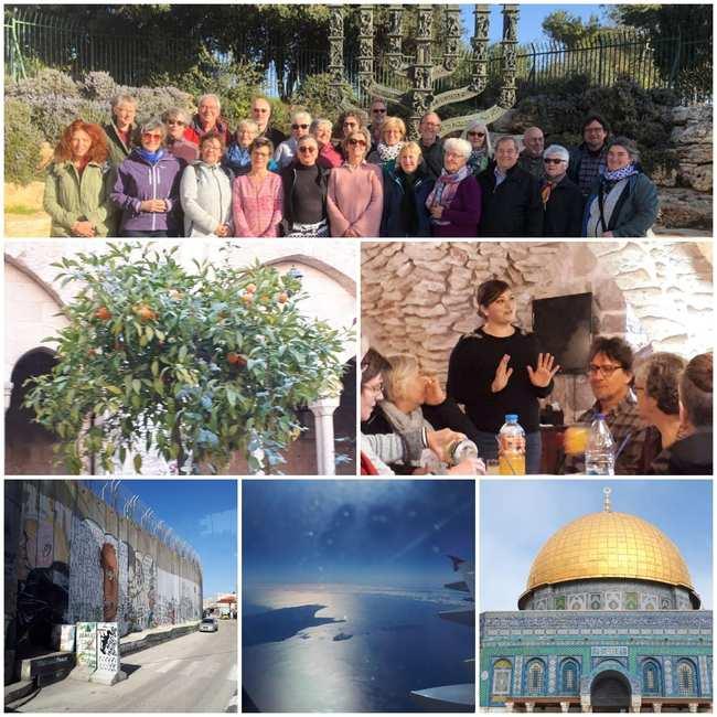 Fotocollage aus verschiedenen Motiven, darunter eine Frau, der Tempel in Jerusalem, ein Mandarinenbaum, ein Blick aus dem Flugzeug.