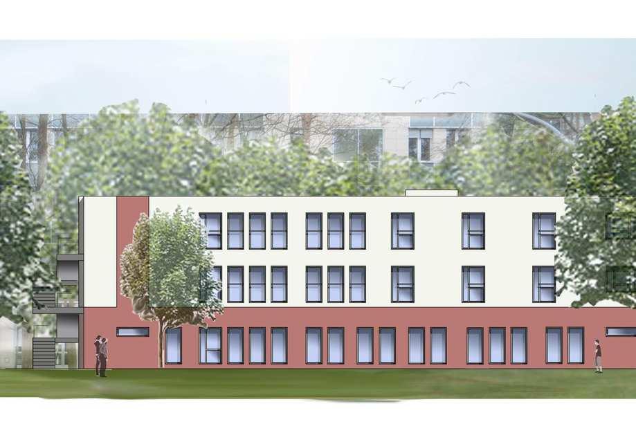 Eine grafische Animation zeigt ein rot-weißes Gebäude mit vielen Fenstern.