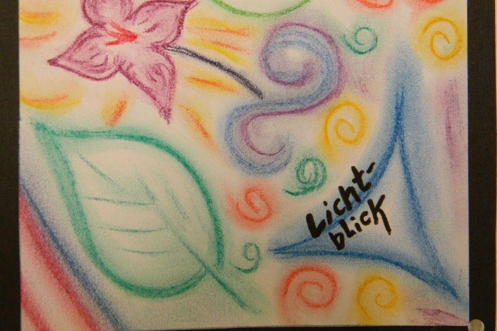 """Ein gemaltes Bild auf dem """"Licktblick"""" steht"""